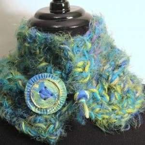 Womens Scarf, Cowl Neck, Peacock Co..