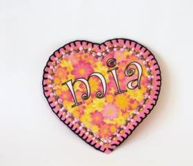 Flower Heart Hippie Applique Name Patch, Personalized Hand Embroidered, Painted Decorative Accessory for Jeans, t shirts, bags