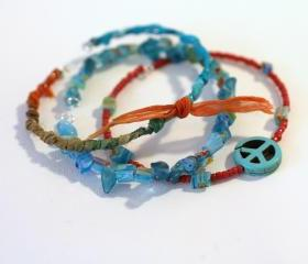 Friendship Bracelet, Stack Bracelets, Seed Beads, Stone Chips, Beads, Sari silk ribbon, silk ribbon, peace sign