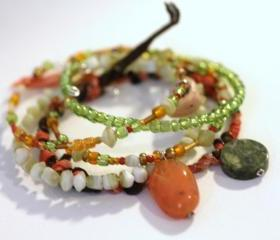 Friendship Bracelet, Stack Bracelets,Stone Chips, Beads, Sari silk ribbon, silk ribbon, green, copper