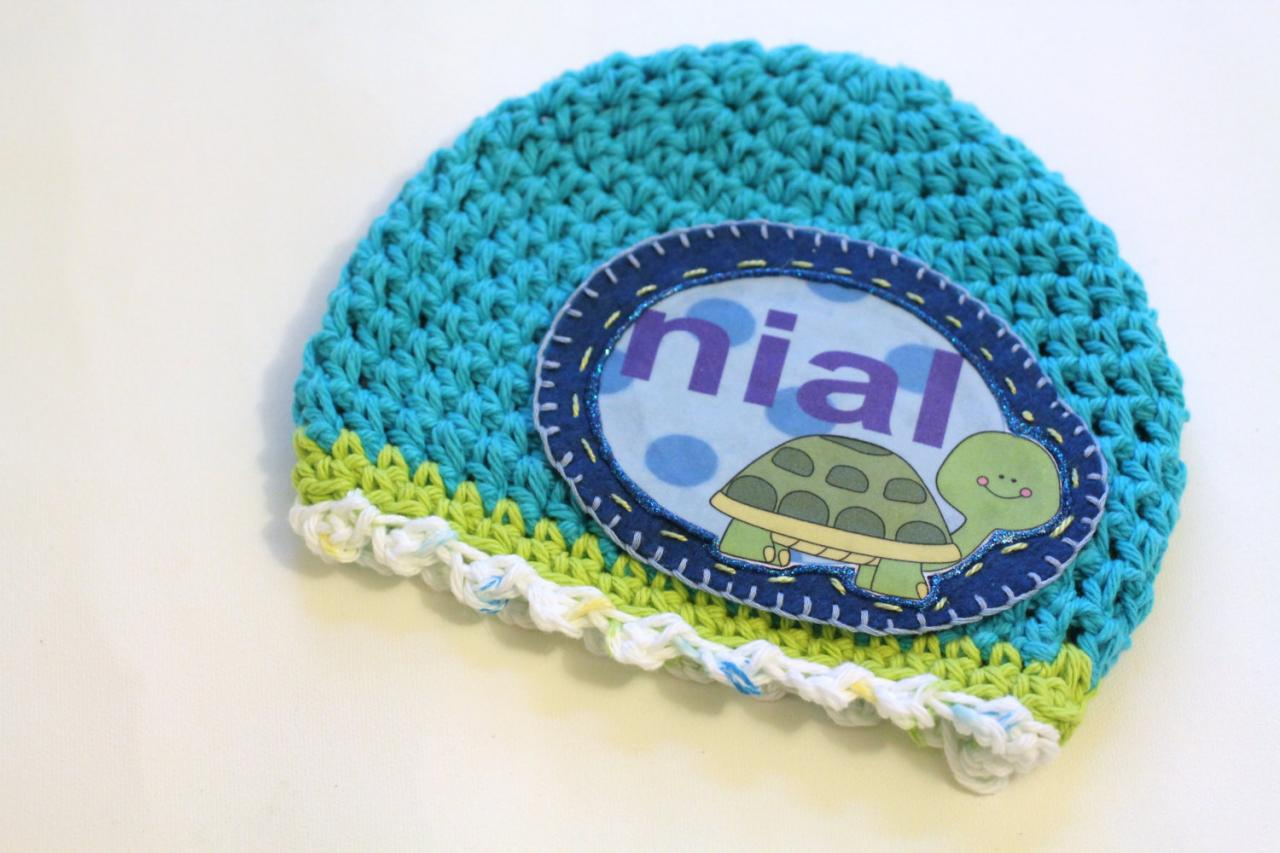 Baby Beanie, Personalized Baby Hat, Baby Gift, Turquoise Summer Baby turtle Personalized Baby Beanie, 100% Cotton Hand Crochet with Your Name