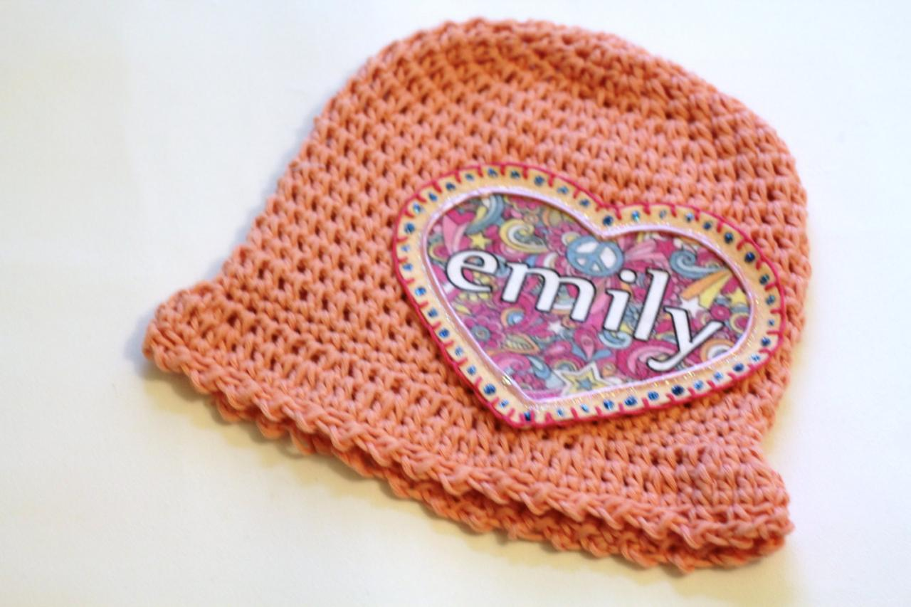 Personalized Baby Beanie, 100% Organic Cotton Hand Crochet with pink floral heart personalized name applique