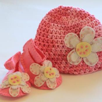 Baby Hat, Baby Booties, Baby Booties and Beanie Set, Pink, Pink, Pink, Baby Diva