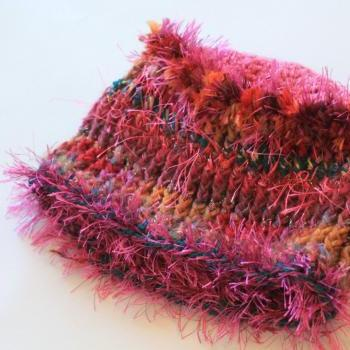 "Womens Crochet Hat, Pink-alicious, Multi fiber hat, Small Size for 18"" or less, super soft, warm and shimmery"