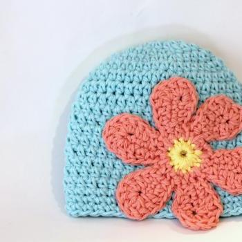 Flower Power Baby Beanie, 100% Cotton Hand Crochet Indie Made Aqua, Peach Hippie Chick Cloche