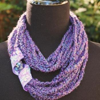 Grape-alicious - Womens Scarf, Mixed Fiber Neck Wrap/Twist with Jeweled Clasp, Can be worn 3 ways