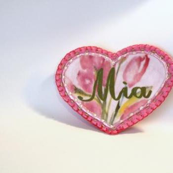 Pink Shabby Chic Flower Heart Applique Patch, Personalized Hand Embroidered, Painted Decorative Accessory for Jeans, t shirts, bags
