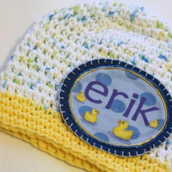 Baby Beanie, Personalized Baby Hat, Baby Gift, Baby ducks Personalized Baby Beanie, 100% Cotton Hand Crochet Indie Made White, Yellow