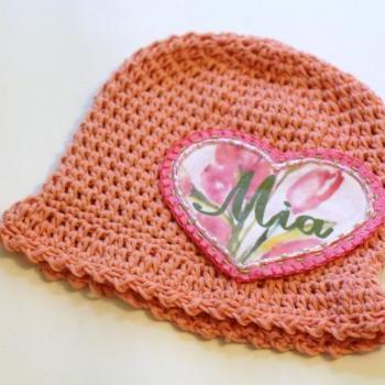 Baby Beanie, Organic Cotton baby hat, toddler hat, Shabby Chic Flower Heart Applique Patch, Personalized Baby Beanie, 100% Organic Cotton Hand Crochet Indie Made Peach Lace