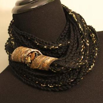 Black Gold - Womens Twisted Scarf, Marbled Clay Gold Embossed Clasp, 54