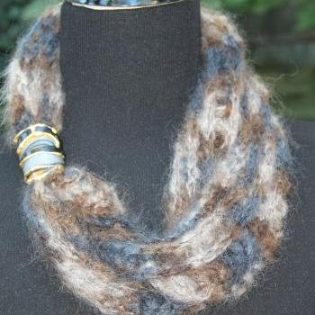 Smoke - Womens Scarf, Soft and Fuzzy Neck Wrap with Jeweled Clasp